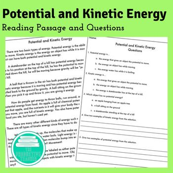 Reading Comprehension Passage and Worksheet: Potential and Kinetic ...
