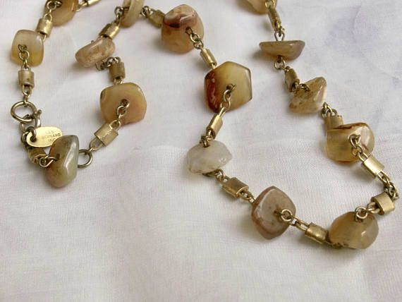 Vintage Open Bezel Set Polished Stone Gold Choker Necklace