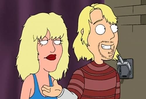Courtney Love and Kurt Cobain in family guy form | Orphan