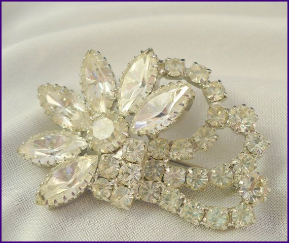 Captivating Tiered Unsigned Weiss Marquise Rhinestone Brooch  by MarlosMarvelousFinds, $39.00