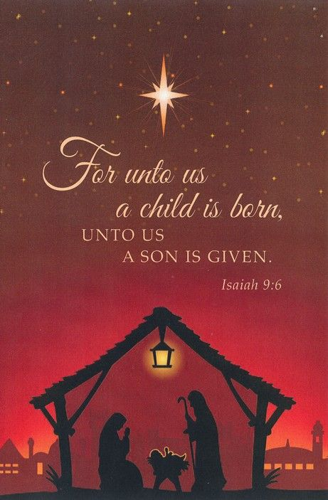 For Unto Us A Child Is Born Nativity Merry Christmas