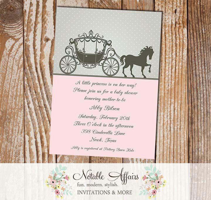Cinderella Princess Horse Carriage Invitation | Baby Shower ...