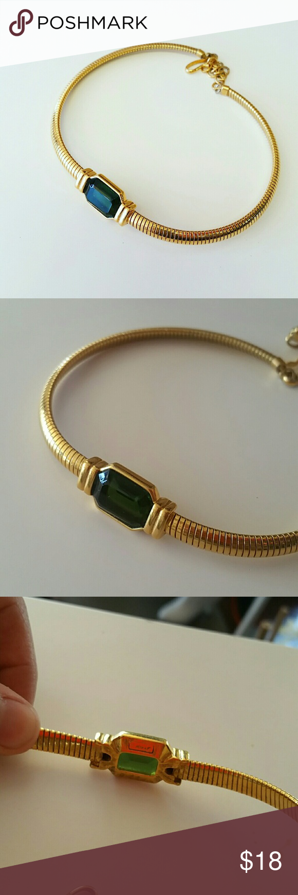 Vintage Green stone choker necklace Green stone choker necklace gold tone flower  Length 15 inch  Length 1 inch No trades  Vintage Vintage  Jewelry Necklaces