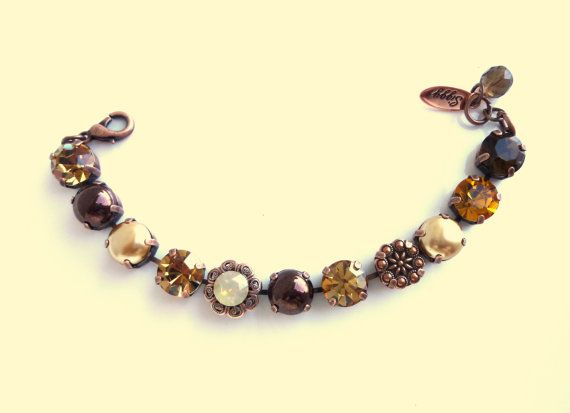 Swarovski crystal bracelet chunky 11mm brown tones by SiggyJewelry.  Why wear sabika when you can wear siggy, the affordable bling!