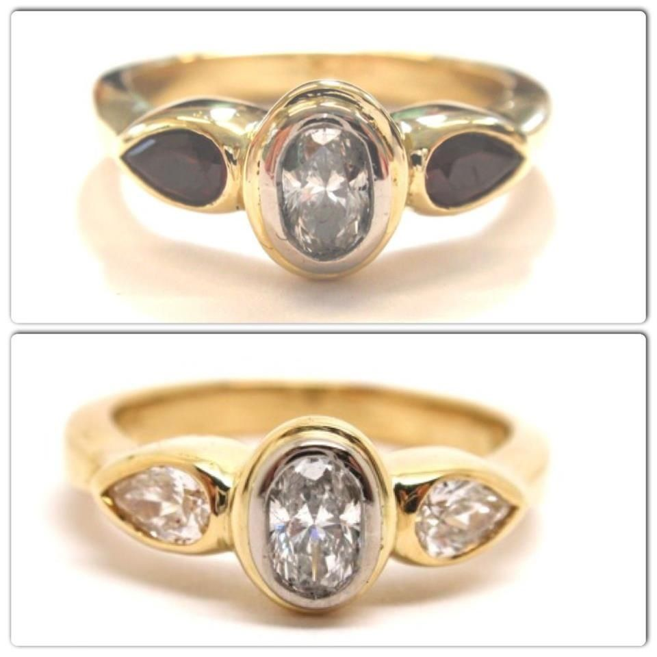 Like making a red head a blonde! it only takes one little change to bling out a ring! by smashing out the garnets and finding the right diamonds a fresh new look is created!
