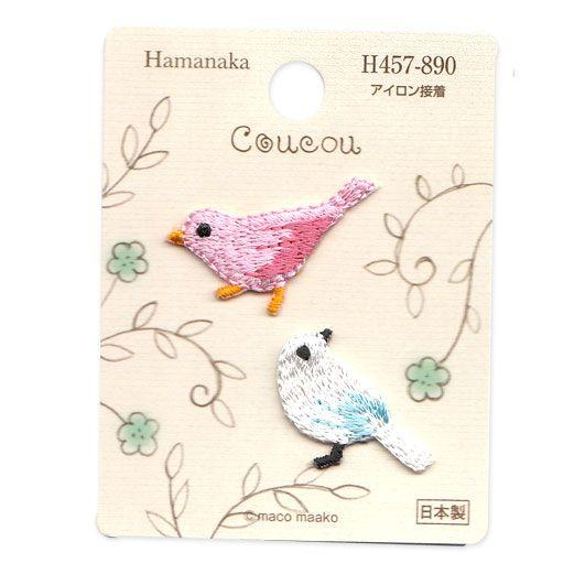 2 Appliqués Oiseaux rose et blanc  - Hamanaka
