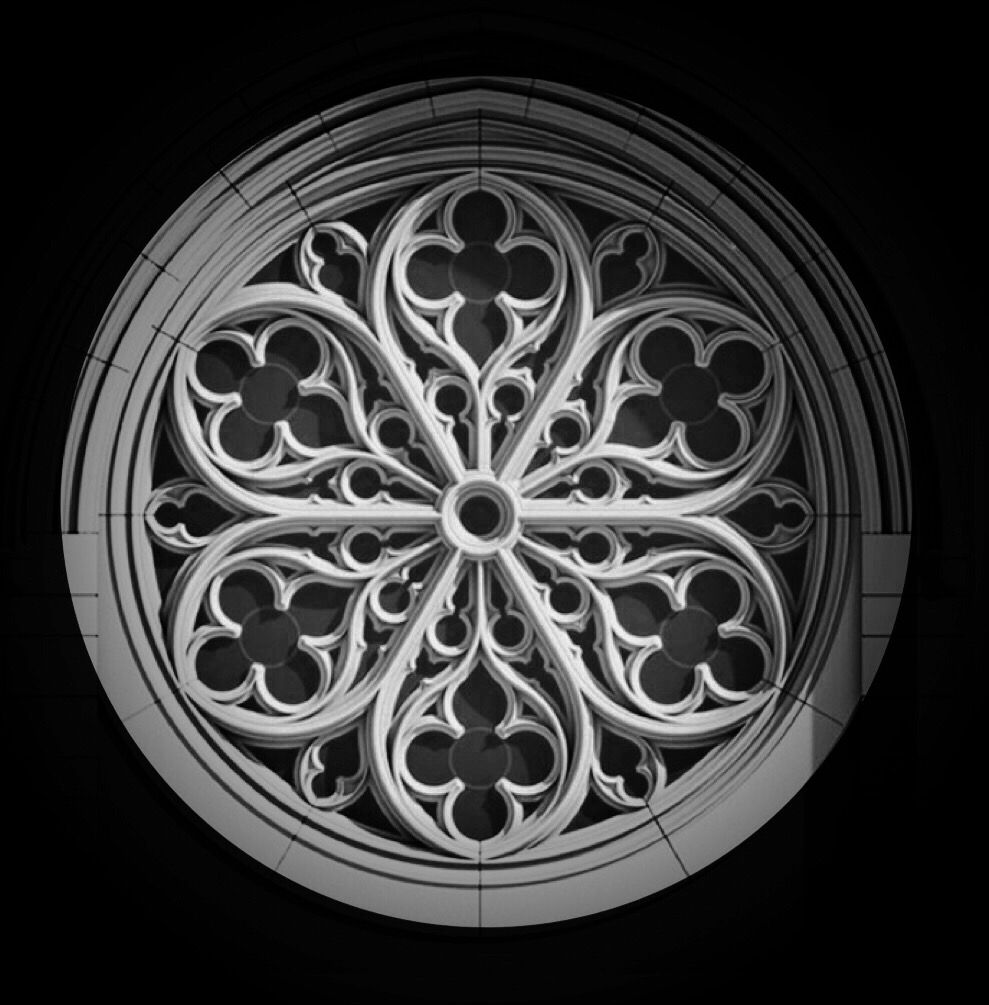 Gothic Windows Church Rose Window Grey Tattoo Architecture Junk Journal Building Statue Sketch