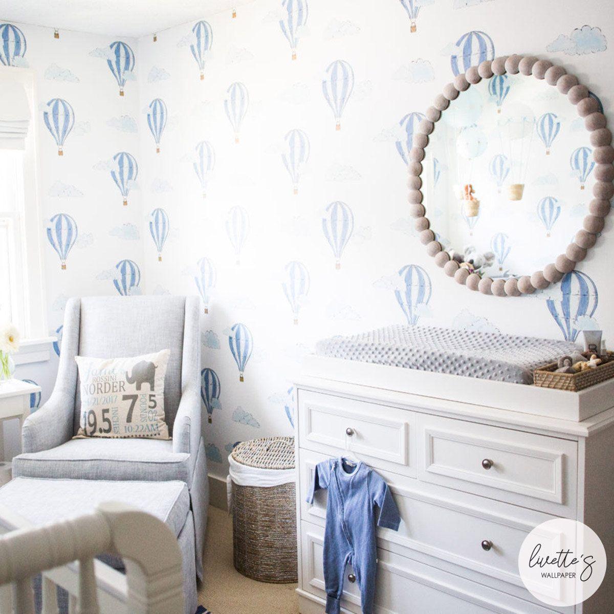 Watercolor Air Balloon Removable Wallpaper Baby Boys Nursery Etsy Nursery Wallpaper Boy Boys Room Wallpaper Nursery Room Boy