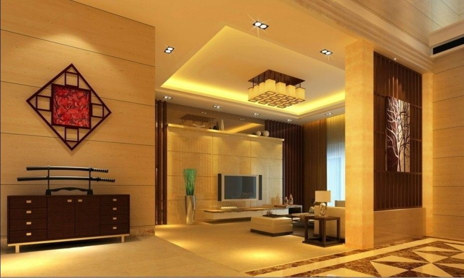 Contemporary Living Room Interior Design Wonderful Hanging Light Wall Painting Led Tv