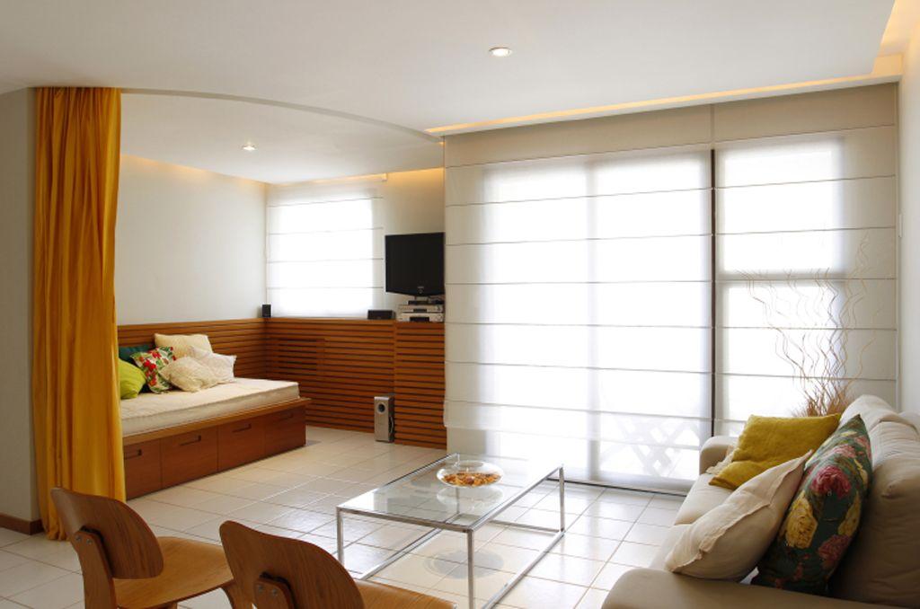 Sala Tv Quarto Hospedes ~ Sala de TV se transforma em quarto de hóspedes com uma cortina