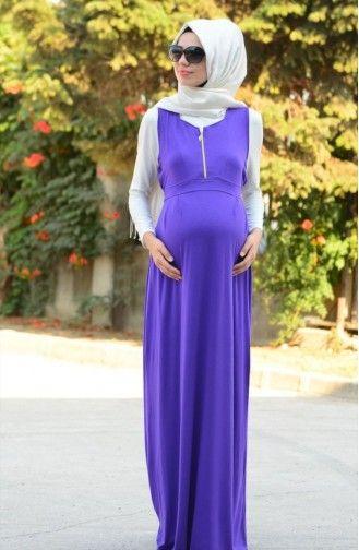 Tesettur Hamile Elbise 4050 04 Mor Moda Stilleri Basortusu Modasi Elbise