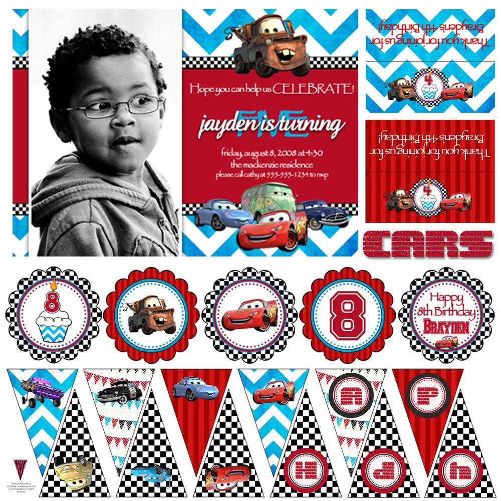 Printable Cars Birthday Decoration and Invitation Package   Party ...