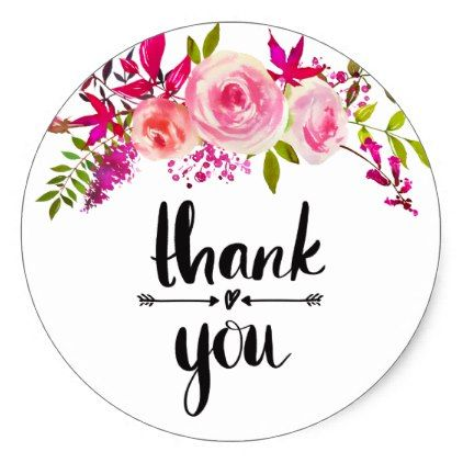 Pink Roses Thank You Sticker Birthday Gifts Party Celebration Custom Gift Ideas Diy