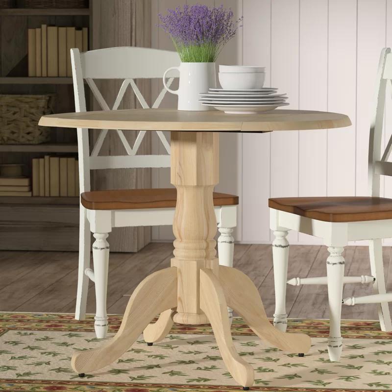 Lynn Drop Leaf Rubberwood Solid Wood Pedestal Dining Table