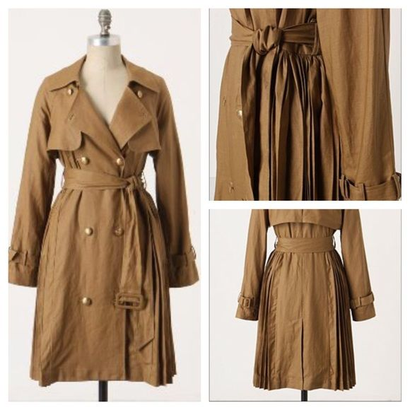 """NWOT Anthropologie Page-Turner Trench by Ruffian Linen. Dry clean only. Flat measurements -- Chest:19"""" / Shoulder to Hem: 34.5"""" / Sleeve: 24.5"""" Anthropologie Jackets & Coats Trench Coats"""