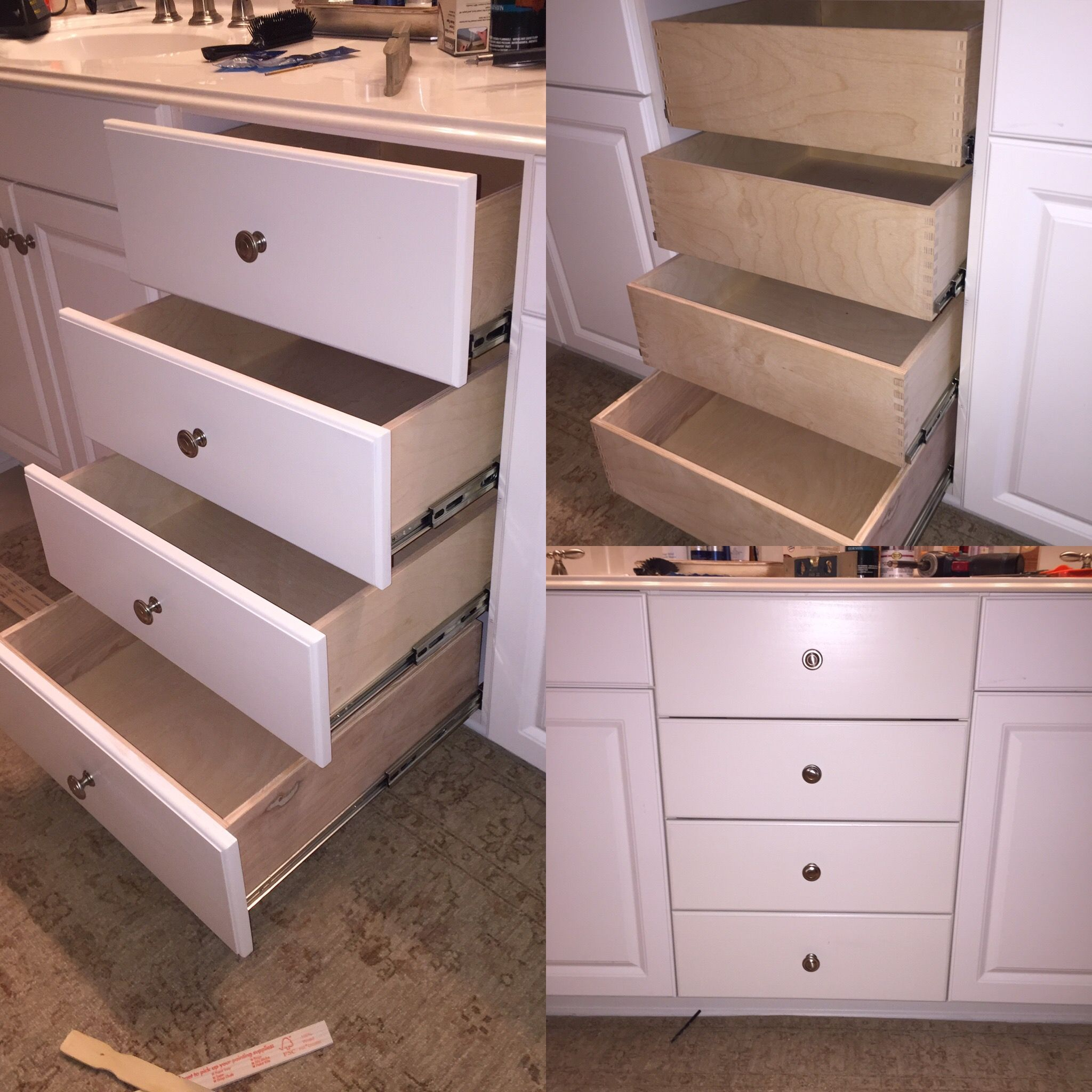 """Custom drawer boxes and drawer fronts. Full extension slides from Rockler. Made to your specs using ½"""" plywood and finger jointed corners. This set you see here is in a bathroom and there used to be a hamper in that spot now it is usable drawers."""