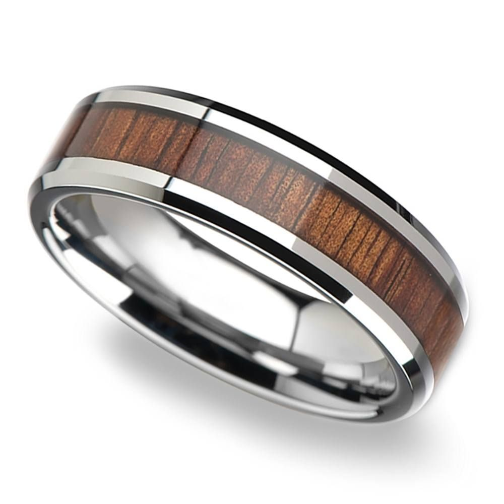 Beveled Men's Ring With Koa Wood Inlay In Tungsten 6mm: Koa Wedding Ring Men At Websimilar.org
