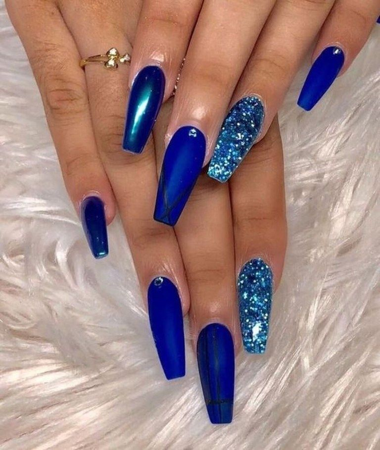 Latest Glitter Acrylic Nail Art Designs Ideas For Long Nails 24 Blue Coffin Nails Long Nails Solid Color Nails