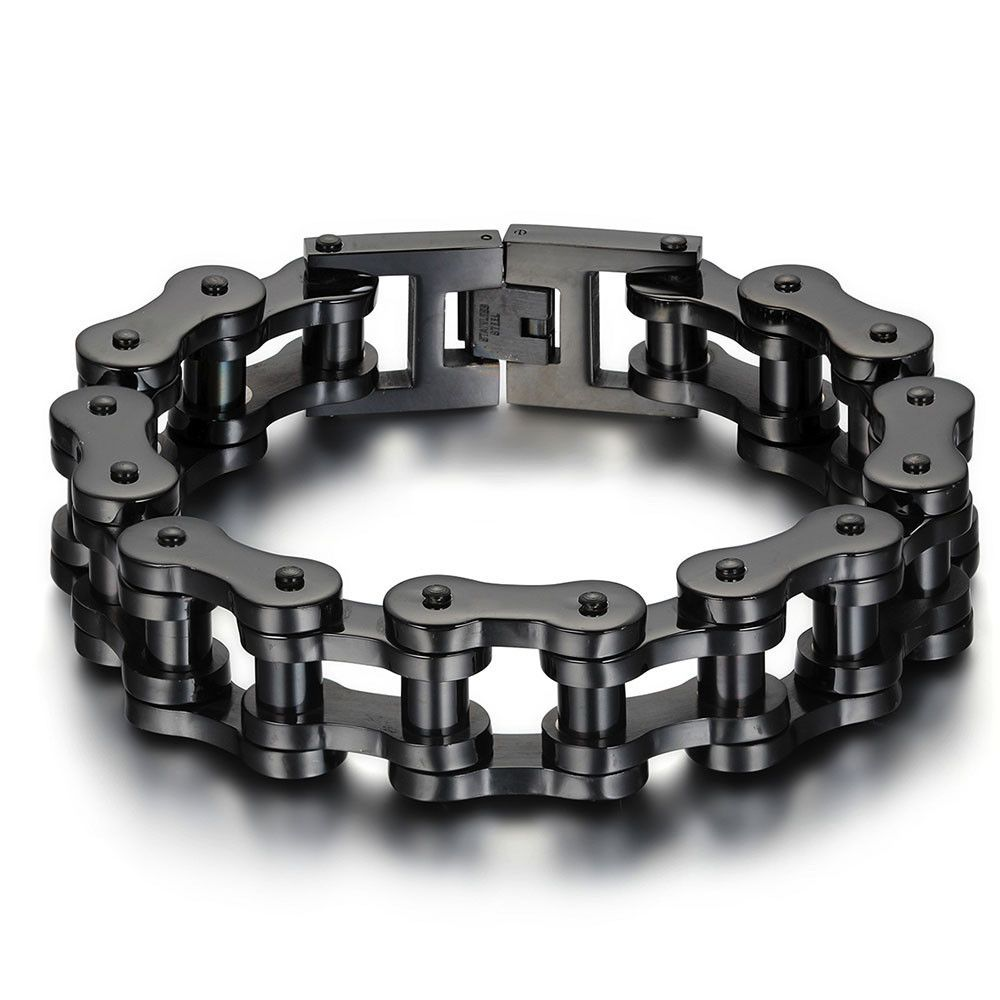 Motorcycle bike chain ring 14k black - Heavy Wide Stainless Steel Bracelet Men Biker Bicycle Motorcycle Chain Men S Bracelets Mens Bracelets Bangles Berny S Jewels