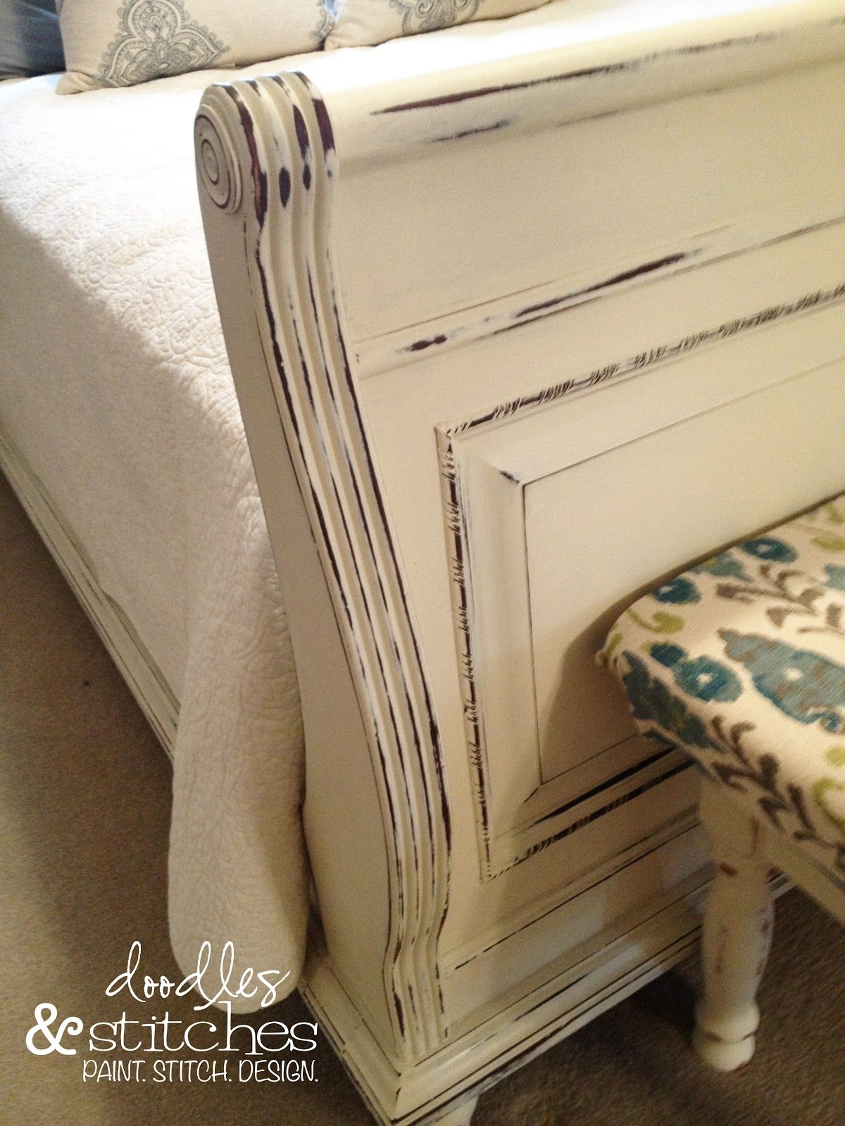 Painting Bedroom Furniture White Painted Sleigh Bed Doodles Stitches Guest Room Pinterest