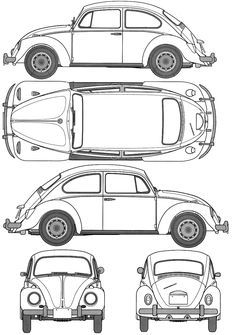 Image result for 1967 volkswagen beetle orthographic