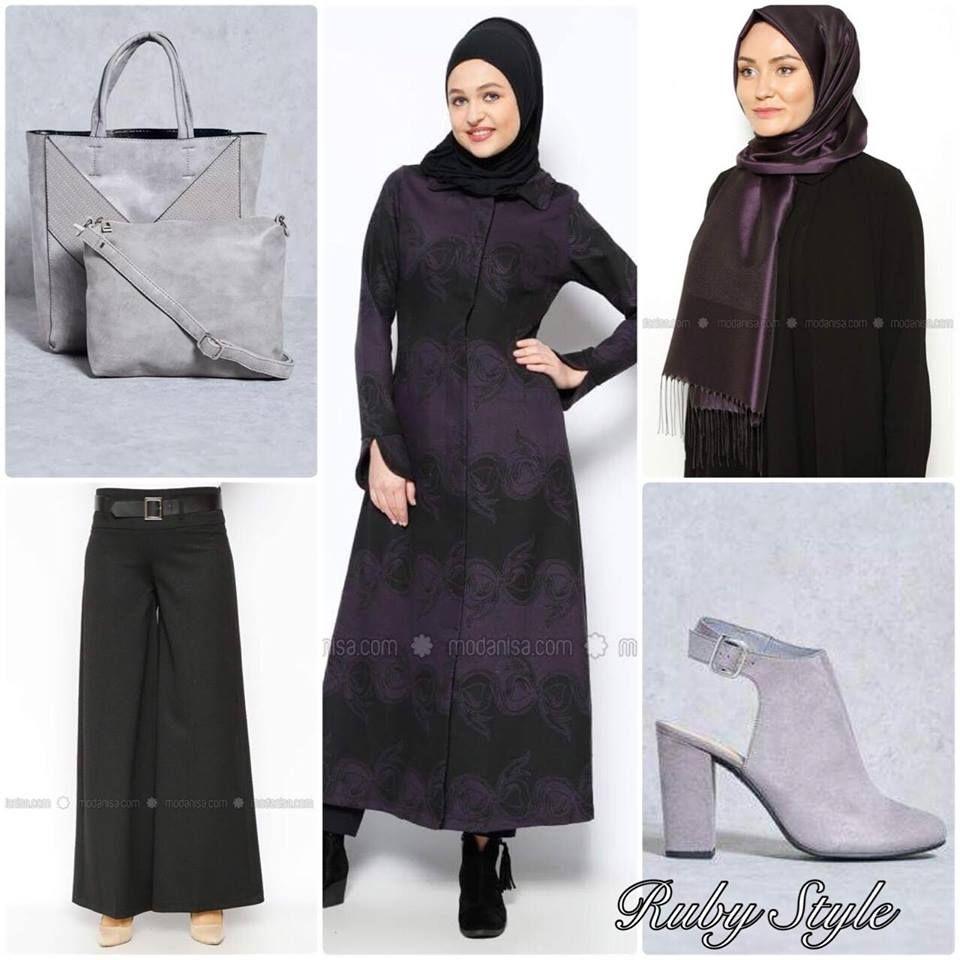 بالطو موف في اسود جميل يتماشي معه البنطال الاسود مع الطرحة الموف أضفت الحقيبة والحذاء من الرمادي الفاتح ليعطي أضاءة للطقم ويكسر ال Hijab Outfit Fashion Outfits
