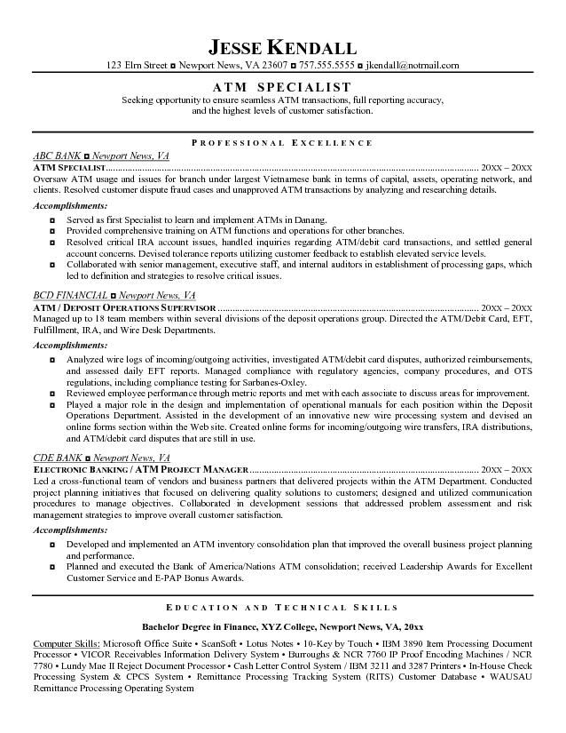 Professional Resume Example Good Teller Examples Sample Bank