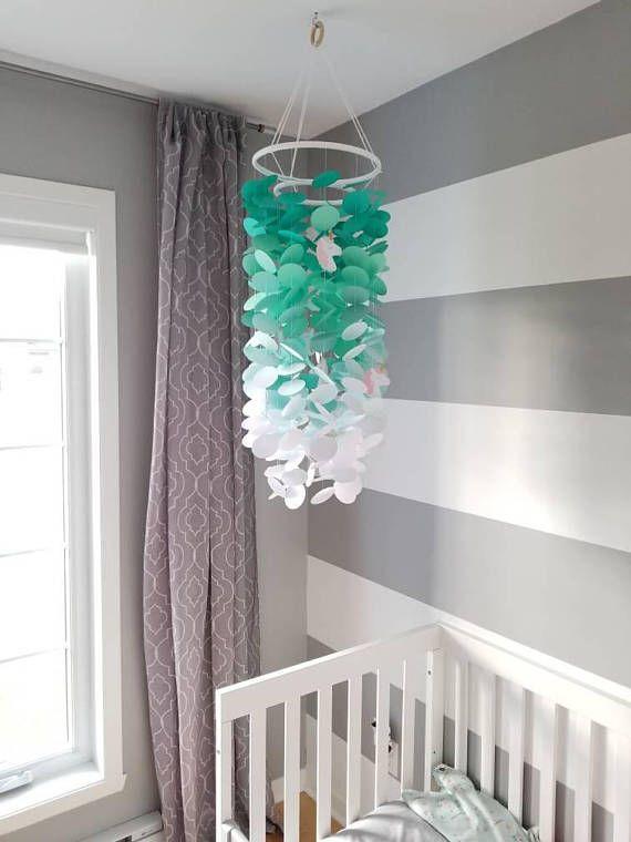 Mobile Pour Bebe Avec Licornes Turquoise Degrade A Blanc Chambre
