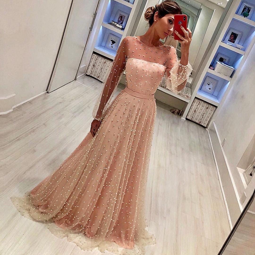 Illusion pearls long prom dresses long sleeve evening dresses aline