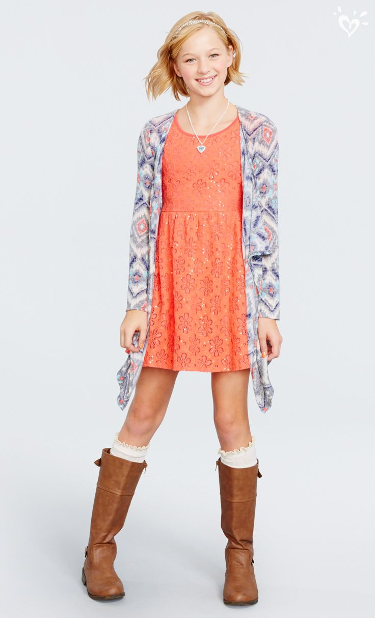 A waterfall cardi and matching boots take your dress collection from fall to winter!