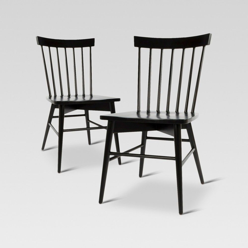 Set Of 2 Windsor Dining Chair Black Threshold Windsor Dining Chairs Dining Chairs Black Dining Chairs