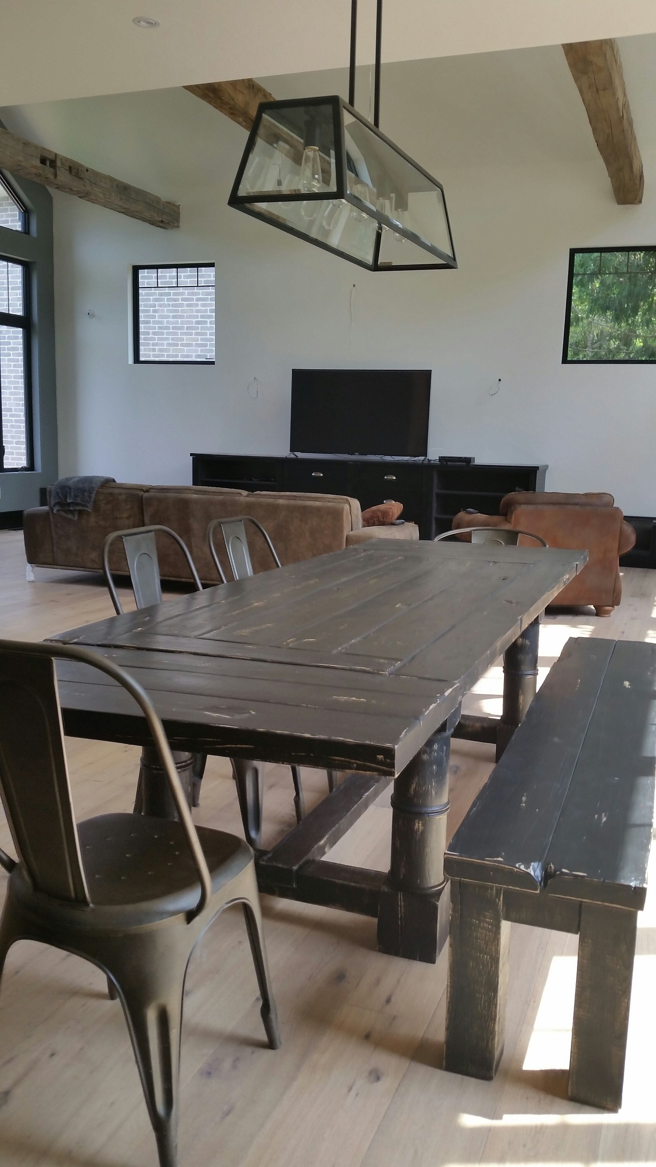 antique black finish 10' long rustic dining table with