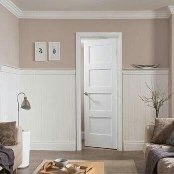 Internal White Primed Shaker 4 Panel Door