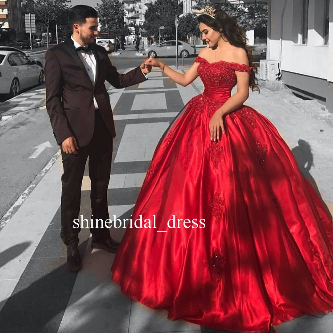 Cool awesome off the shoulder red wedding dresses lace prom formal