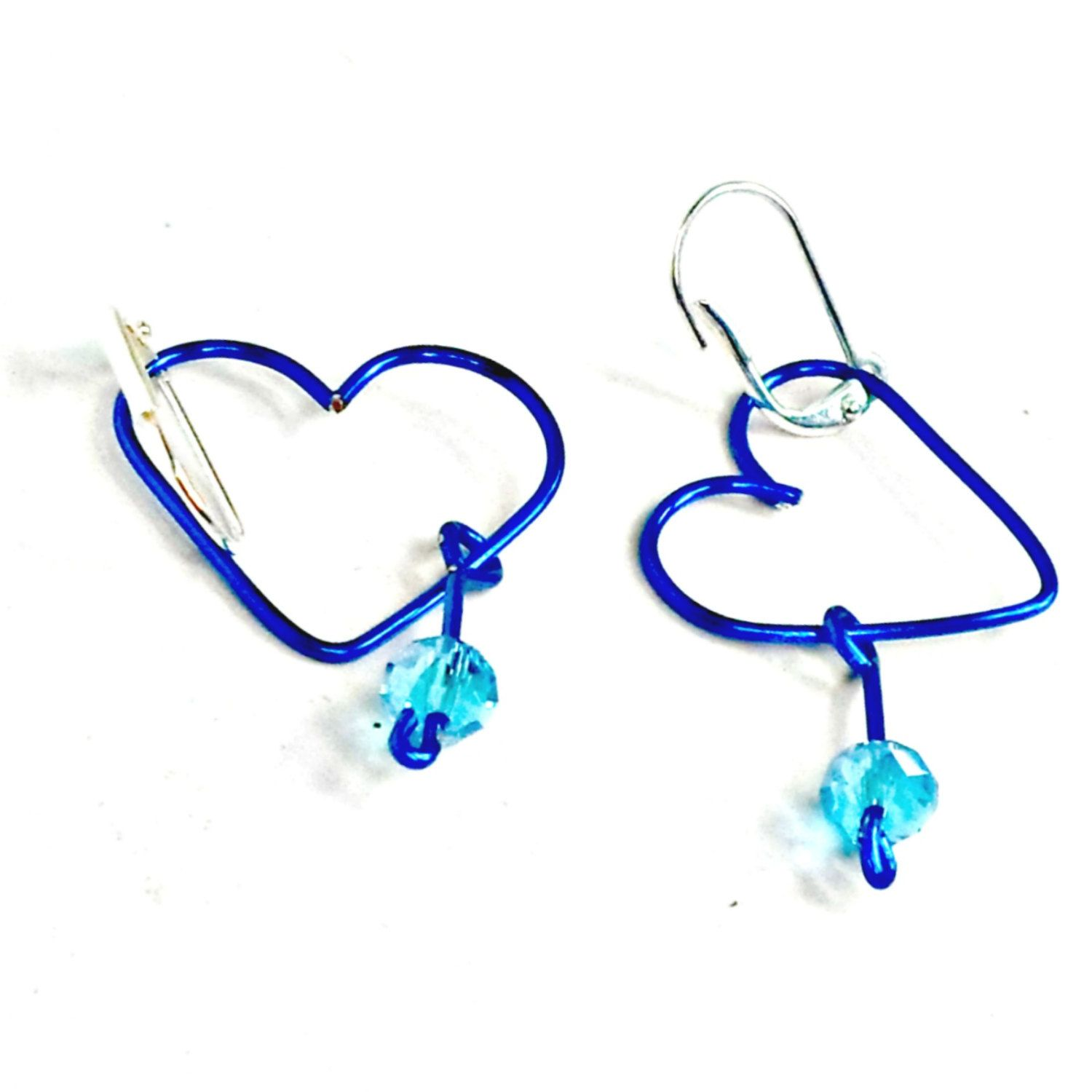 Wirework earrings open heart handmade crystal dangle clip or pierced Pat2 by RememberThis3 on Etsy