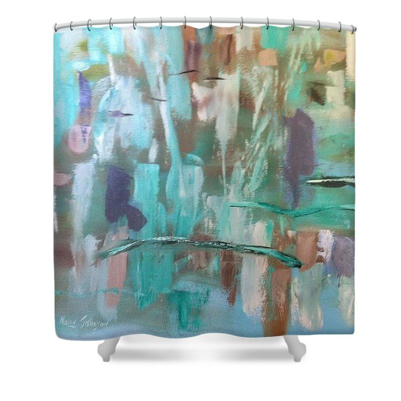 Abstract Shower Curtain featuring the painting Green Abstract by Marilyn Nolan-Johnson