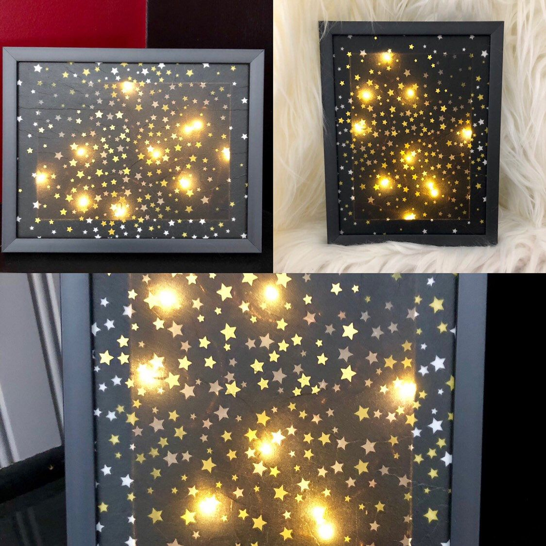 Lighted Picture Frame With Stars Lighted Star Frame Lighted Etsy Picture Frames Frame Light Table Top Decor