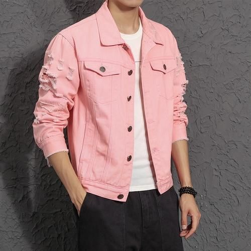 fab6589eeda Denim Jacket Men Ripped Holes Pink Black Jean Jackets Pure color New  Garment Washed Male Denim Coat Large Size M-5XL