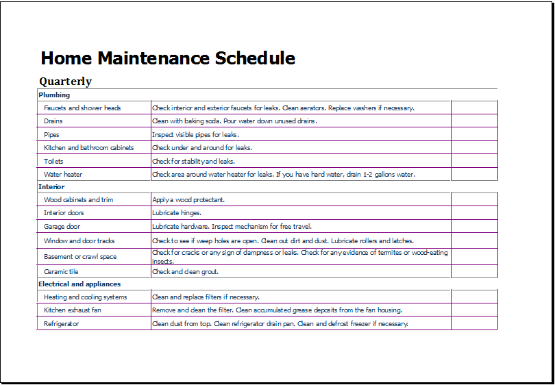 10 Home Maintenance Schedule Templates