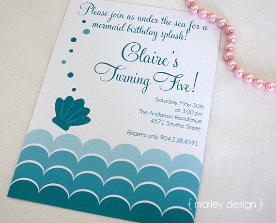 Mermaid Party Invitation Printable Customized Personalized 1550