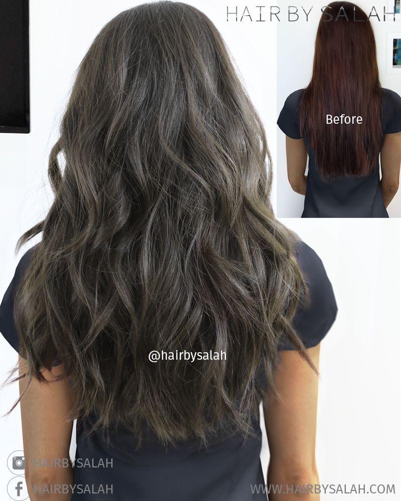 Before After Mat Brown Colour By Salah Dubai Hair Haircolor Ashbrown Balayage Hairstyle Hairoftheday Br Hair Styles Charcoal Hair Ash Brown Hair