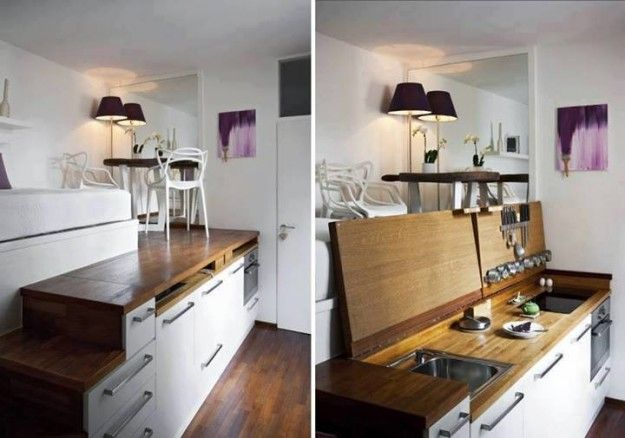 Arredare casa con poco spazio - Cucina salvaspazio | Tiny houses ...