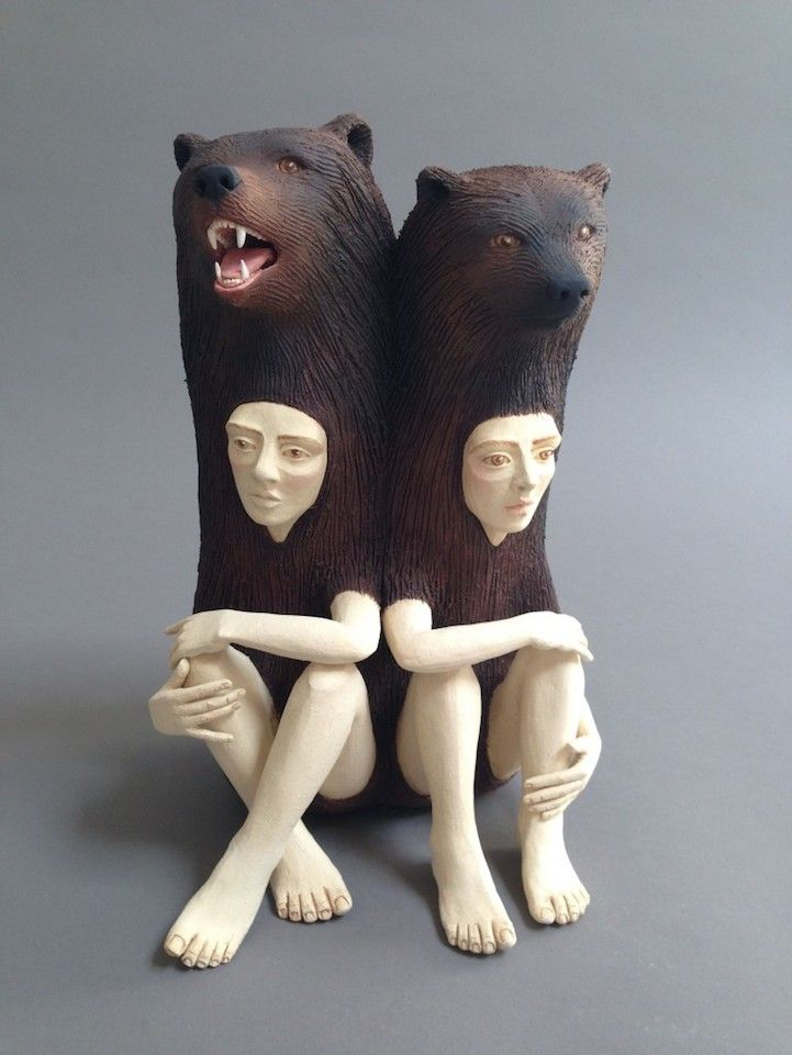 Striking Ceramic Sculptures Of Human Animal Hybrids Explore Relationship Between People And Nature Ceramic Sculpture Animal Sculptures Sculpture Meaning