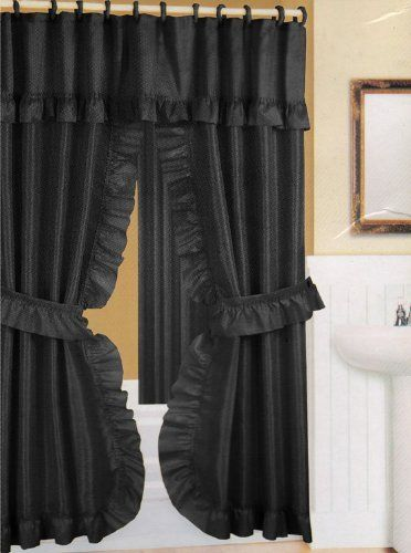 Black Fabric Double Swag Shower Curtain With Matching Fabric