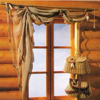 Rustic Log Cabin Fishing Net Window Treatment
