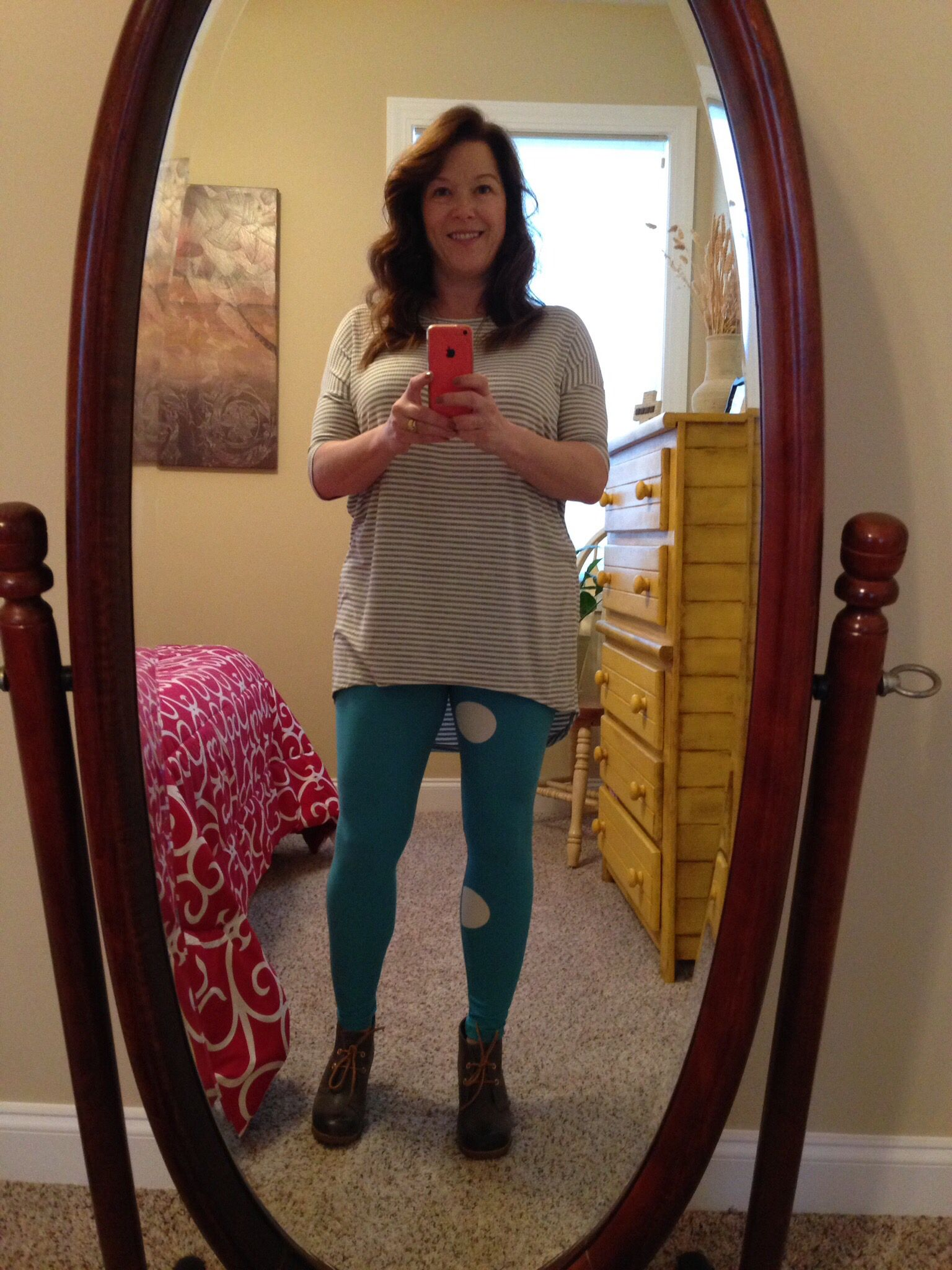 Dotted Leggings & gray & white striped Irma! So cute! - On Your Last Legging