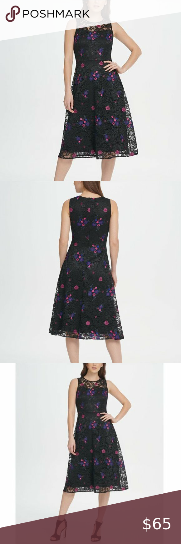Dkny Embroidered Floral Black Lace Midi Dress 16 Black Lace Midi Dress Midi Dress 16 Lace Midi [ 1740 x 580 Pixel ]