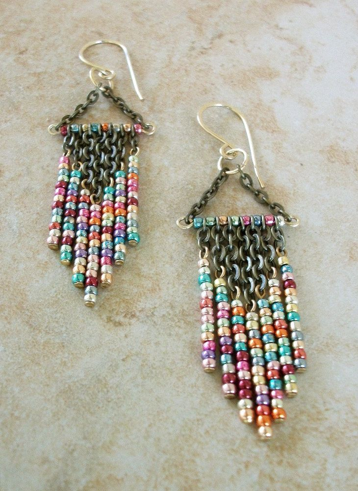 Metallic Mix Colored Beaded Chandelier Earrings Free Us Shipping