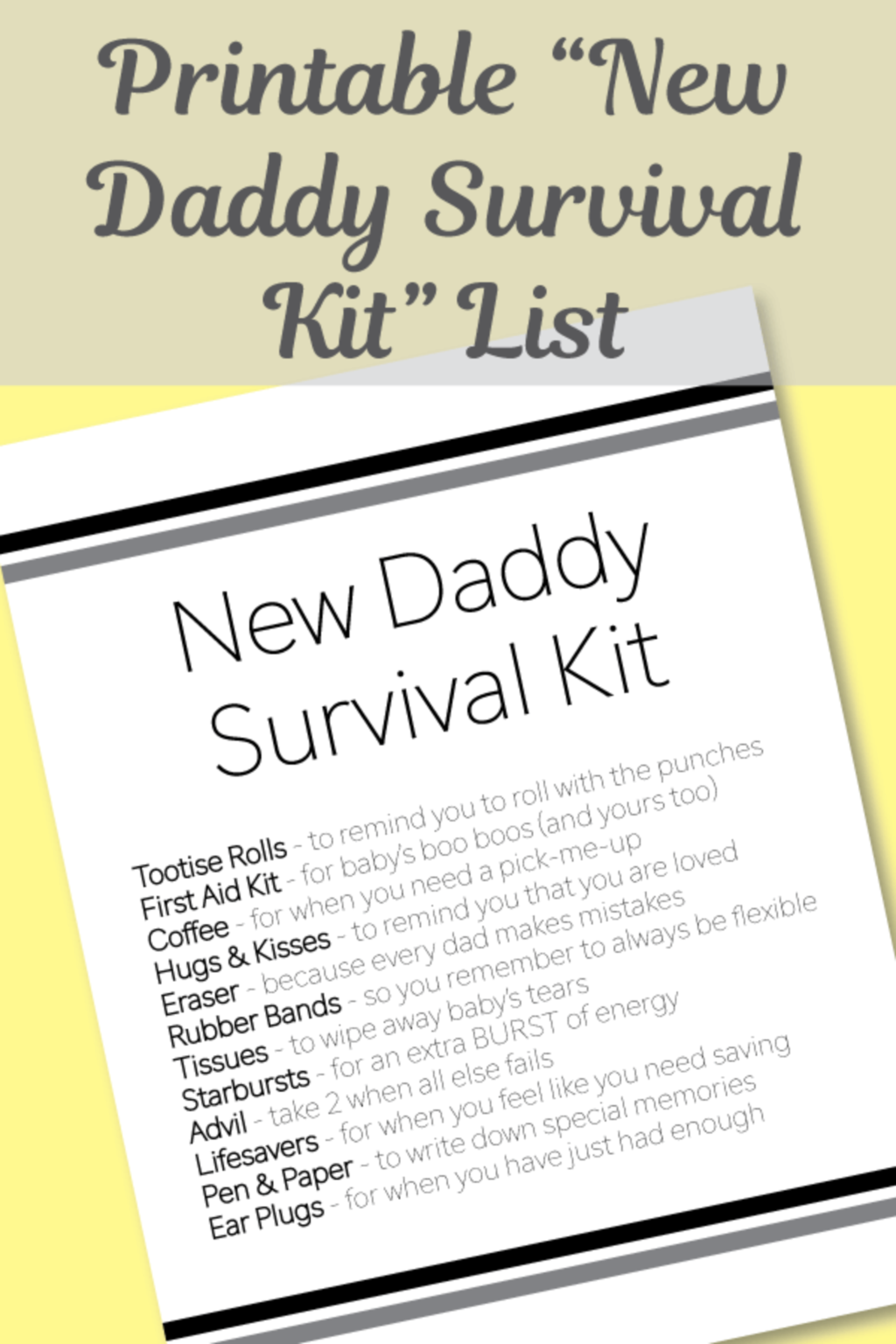 Free Printable New Daddy Survival Kit List In 2020 Daddy Survival Kits Baby Shower Dad Dad Baby Shower Gift
