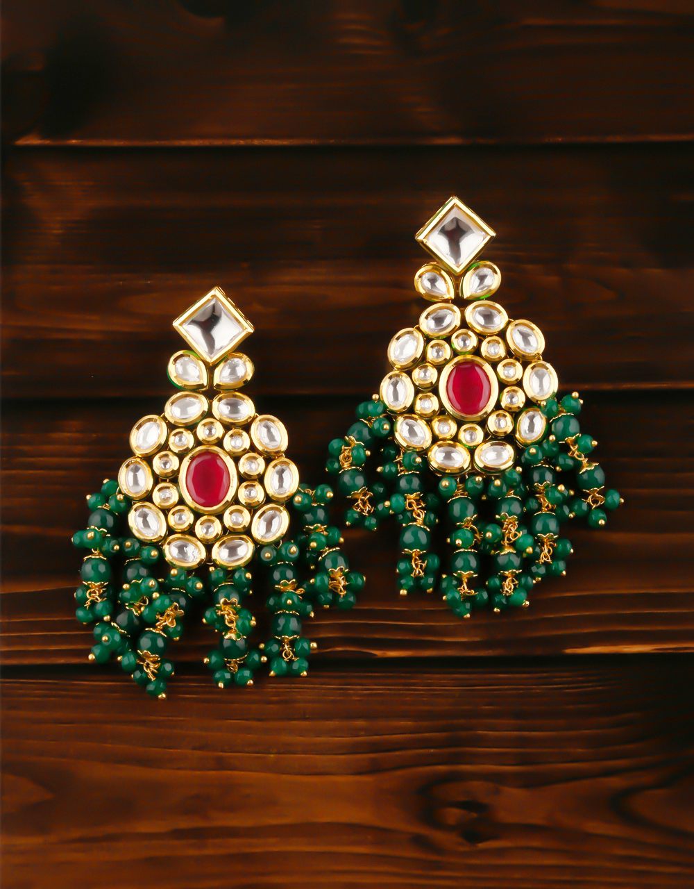 Green Colour Gold Finish Styled With Beads Long Earrings